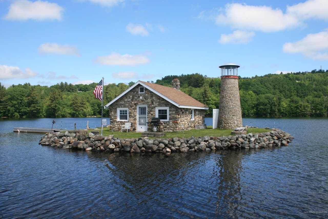maine, lake, lakefront, lake cabin, cabin, cottage, stone, lighthouse, water, flag, stephen king, novel, writing, rustic, camping