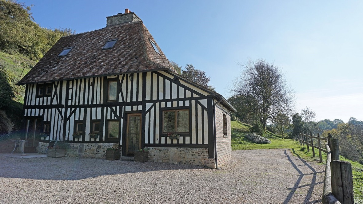 france, cottage, roiville, hillside, valley, views, manor, manoir, stunning, countryside, normandy, french, stone, 16th century, half-timbered, charming, cozy, cave house, cave, troglodyte, fireplace, history, lovely, real estate, for sale, demeure