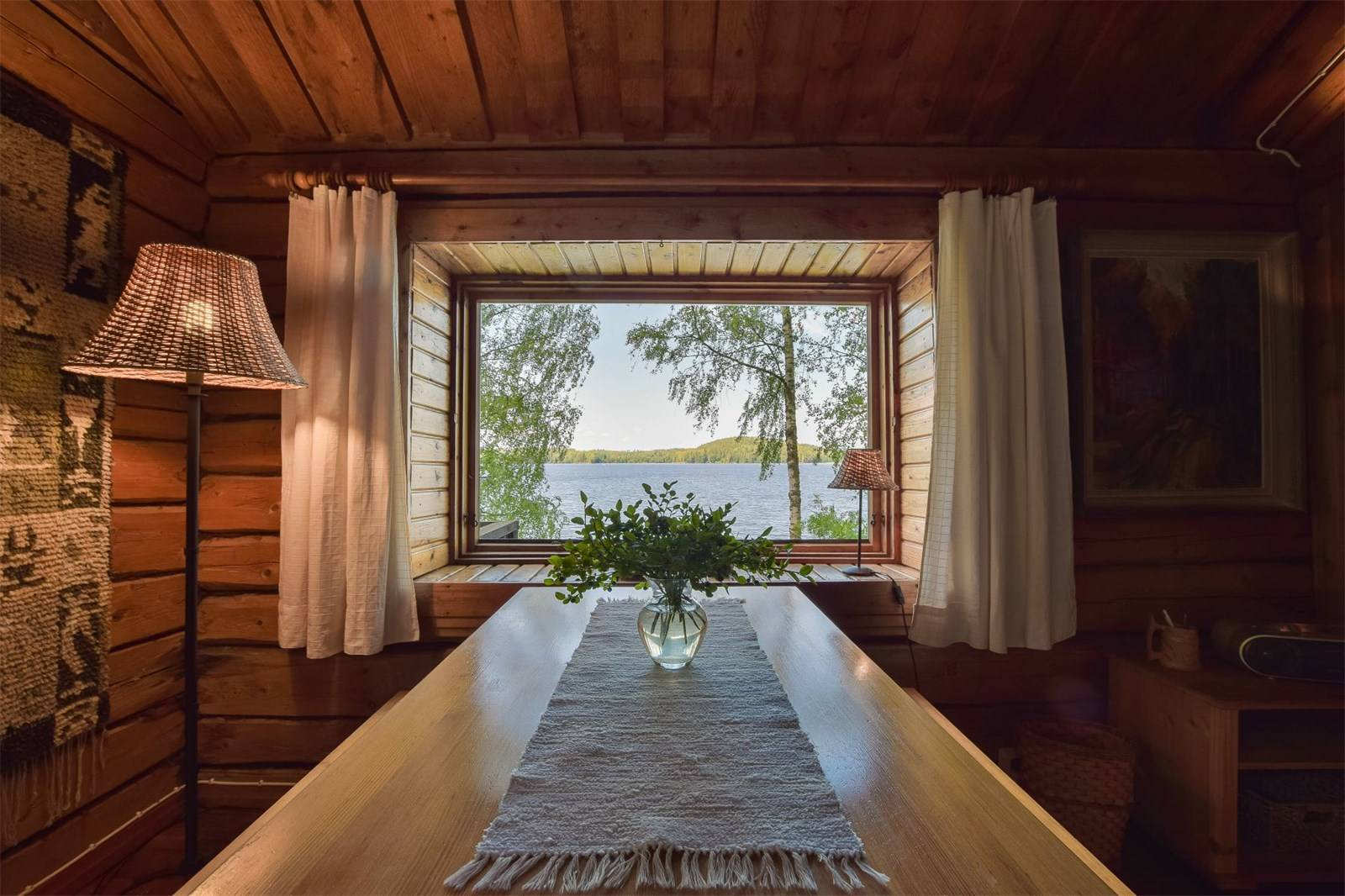 finland, cabin, finnish, lakefront, lake, vacation, wood, window, curtains, vase, hygge, cozy, for sale, real estate, helsinki, summer, house, country, view, water, trees