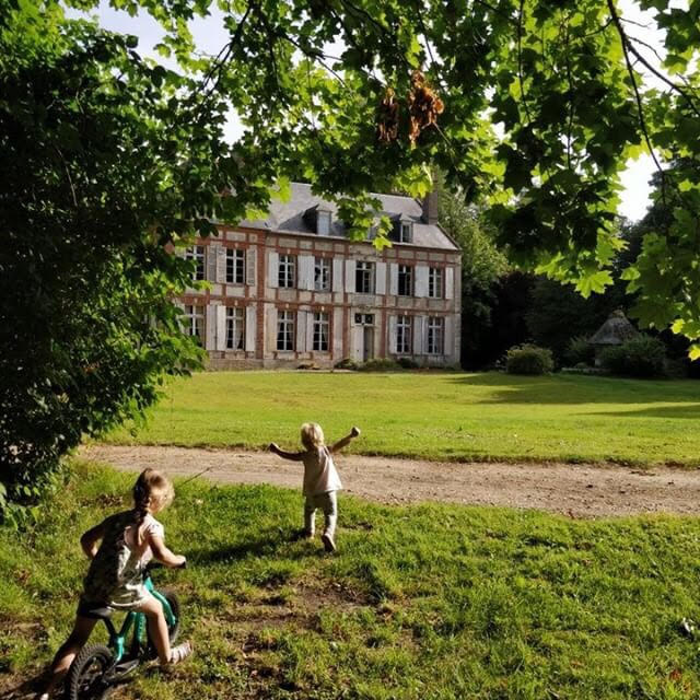 cheateau, interview, france, french, living, moving, escape, escapist, escapist to the country, mansion, countryside, country house, renovation, parenting, trees, lawn, garden, windows, house, drive, beautiful, charming, bed and breakfast, chateau gonneville sur honfleur