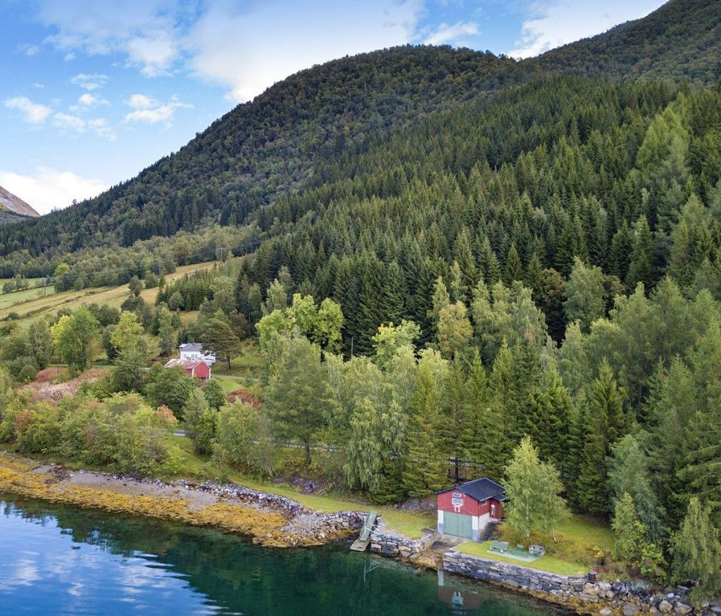 norway, mountains, fjord, forest, pine, evergreen, farmhouse, farm, cottage, cabin, lake house, house, lake, fishing, hiking, hunting, old house, home, love, nature, country, rural, escape, charming, cozy, boat, boating, real estate, property
