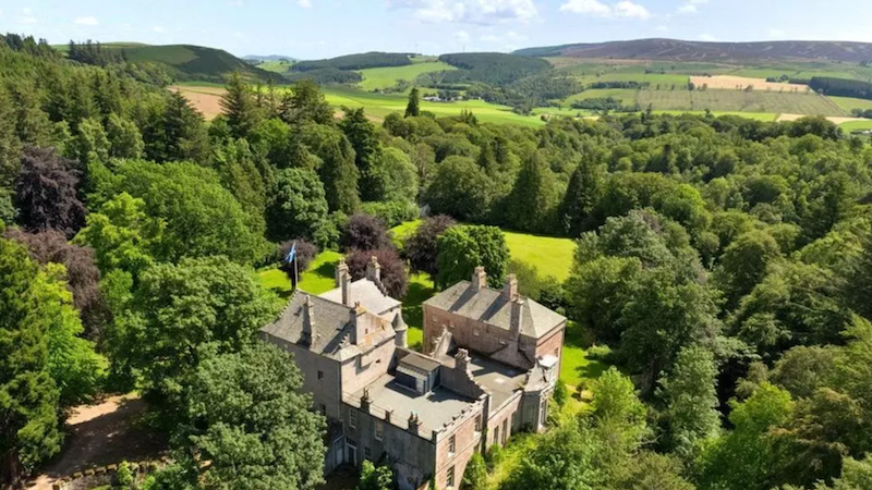 scotland, castle, scottish, manor, mansion, aberdeenshire, huntly, craig castle, property, estate, acre, forest, land, trees, historic, preservation, restoration, for sale, real estate, history, gorgeous