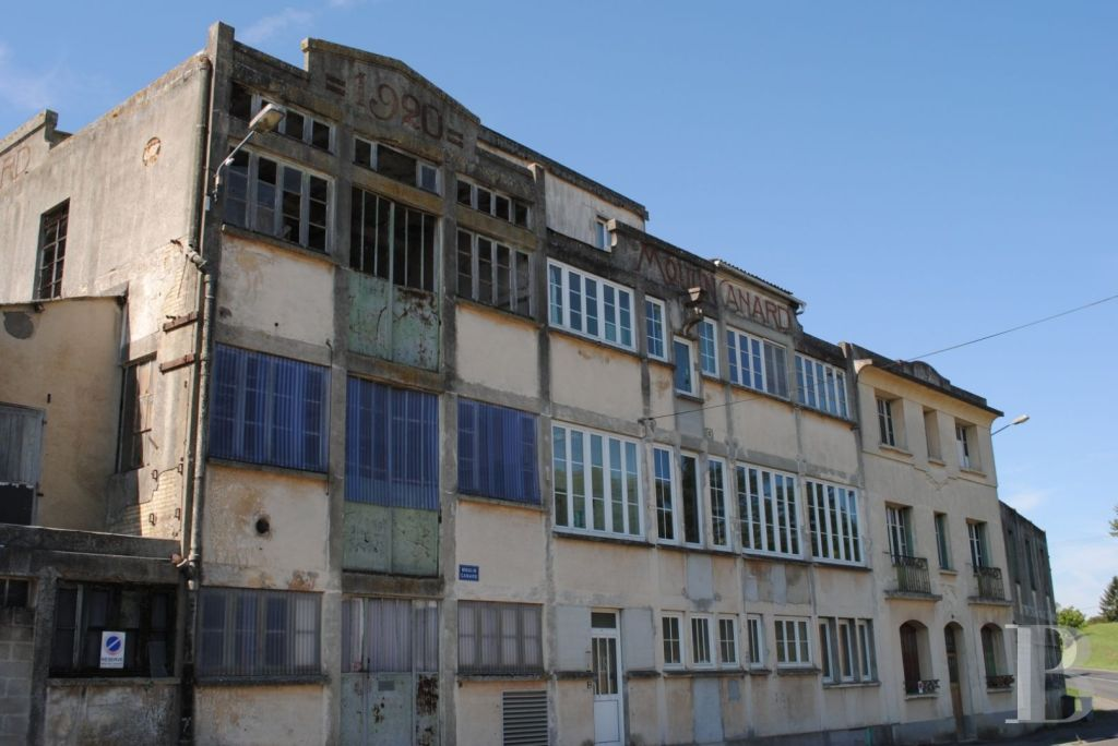 """Due to its abundant flow, the small river enabled the 19th century to develop a local milling industry. This flour mill, a long family business passed down from father to son, was particularly productive until the 1980s. Closed during the decade, the astonishing building is the last to survive today on this site. All concrete and brick, it stands at the exit of a small city, at the bend of a bend. Nearby, the countryside reigns supreme. On the upper part of the facade are written the date of 1920 and the words """"Moulin Canard"""". The roof is formed by a set of solid terraces. With its beautiful volumes and numerous glazed openings, the place was taken over in the early 90s by a Parisian company of shows. Its members have experienced a life project focused on artistic creation in a rural environment."""